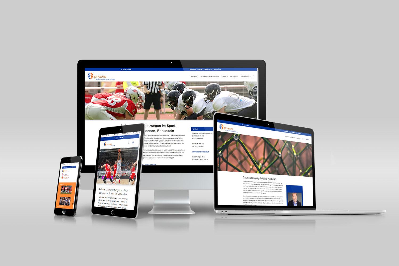 Webdesign für die Praxis für Sport-Neuropsychologie, Würzburg